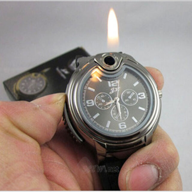 Men's Watch Cigarette Rechargeable Windproof Flameless Military Lighter Watches