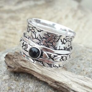 Black-Onyx-Stone-Solid-925-Sterling-Silver-Spinner-Ring-Meditation-Ring-Size-sr1