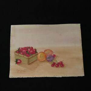 Vintage-90-039-s-Watercolor-Painting-Unframed-Signed-Fruit-In-Basket-Still-Life