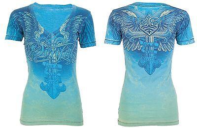 Sinful AFFLICTION Womens T-Shirt DULCE Cross Wings Tattoo Biker UFC BKE S $58