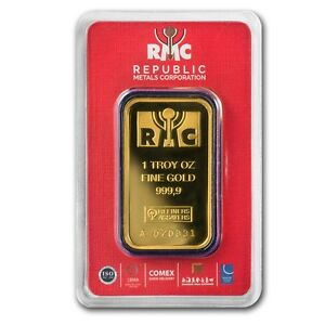 1 oz Gold Bar Republic Metals Corporation RMC .9999 Fine In Assay - SKU #91241