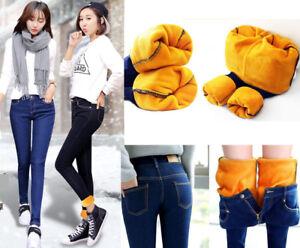 Women-Winter-Thick-Thermal-Warm-Fleece-Nap-Jeans-High-Waist-Trousers-Slim-Pants