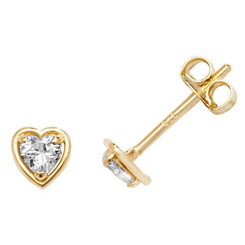 ES585 9ct Gold 4mm Cubic Zirconia Heart Stud Earrings Butterfly Backs