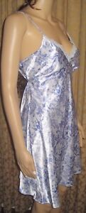 Adonna-Size-Small-Silky-Blue-Floral-Nightgown-with-TIes