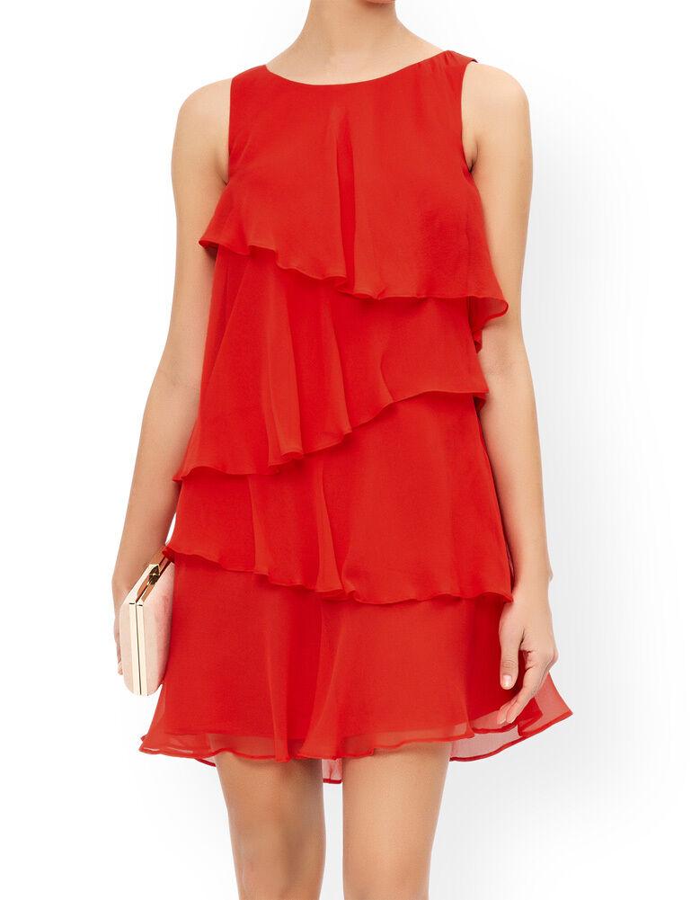 MONSOON Fleur rot Silk Frill Dress BNWT
