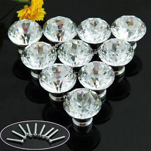 10Pcs 30mm Clear Diamond Crystal Glass Pull Handle Cabinet Drawer Door Knob Yun