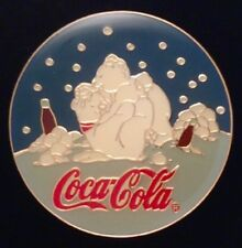 Coca Cola Pin Badge~'97 Vintage~Polar Bears Hugging under stars~Coke~non-olympic