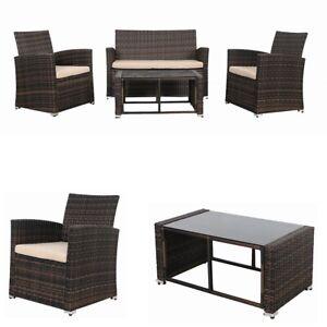 Sitzgarnitur 4 Tlg Rattan Sofa Garten Sessel Lounge Essgruppe