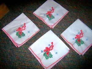 Pink Ballerinas Set of Four Vintage Linen Embroidered Napkins