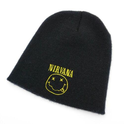 Vintage Nirvana Black Smiley Beanie Embroidered