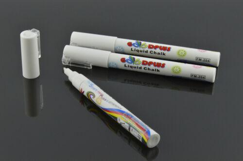 3 x Kreidemarker Flüssigkreide Kreidestift   Weiß 3mm Tafel Werbung Top Neu