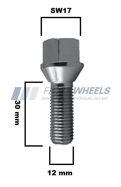 20x Radschraube für Stahlfelgen Radbolzen M12 x 1,5 x 22 Kegelbund 60° SW17