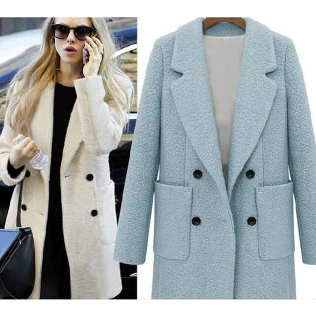 Women Winter Fashion Wool Parka Long Lapel Blazer Trench Coat Overcoat Jacket XL