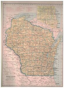 1942-Railroad-Map-of-Wisconsin-With-A-Railroad-Map-of-Wyoming-On-The-Reverse