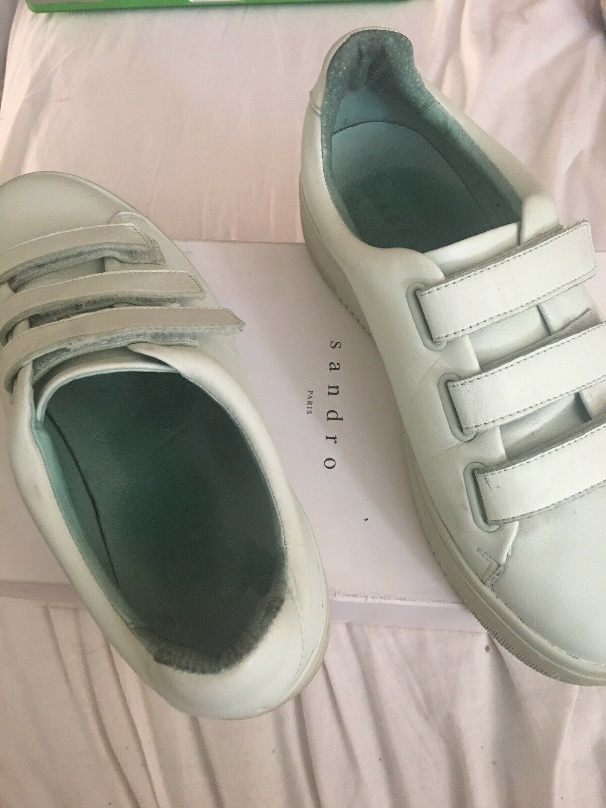 Sandro Mint Green Leather Velcro Strap Sneakers Size 7 EU 40