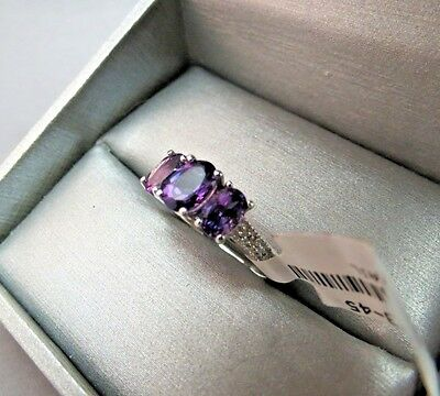 10k White Gold Diamond Accent 3 Stone Amethyst Ring 1.75 Ct SZ 6.5 NWT MSRP $389