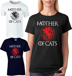 Mother-Of-Cats-Ladies-T-Shirt-Unisex-Loose-Fit-Game-Of-Thrones-Parody-Comedy-Tee