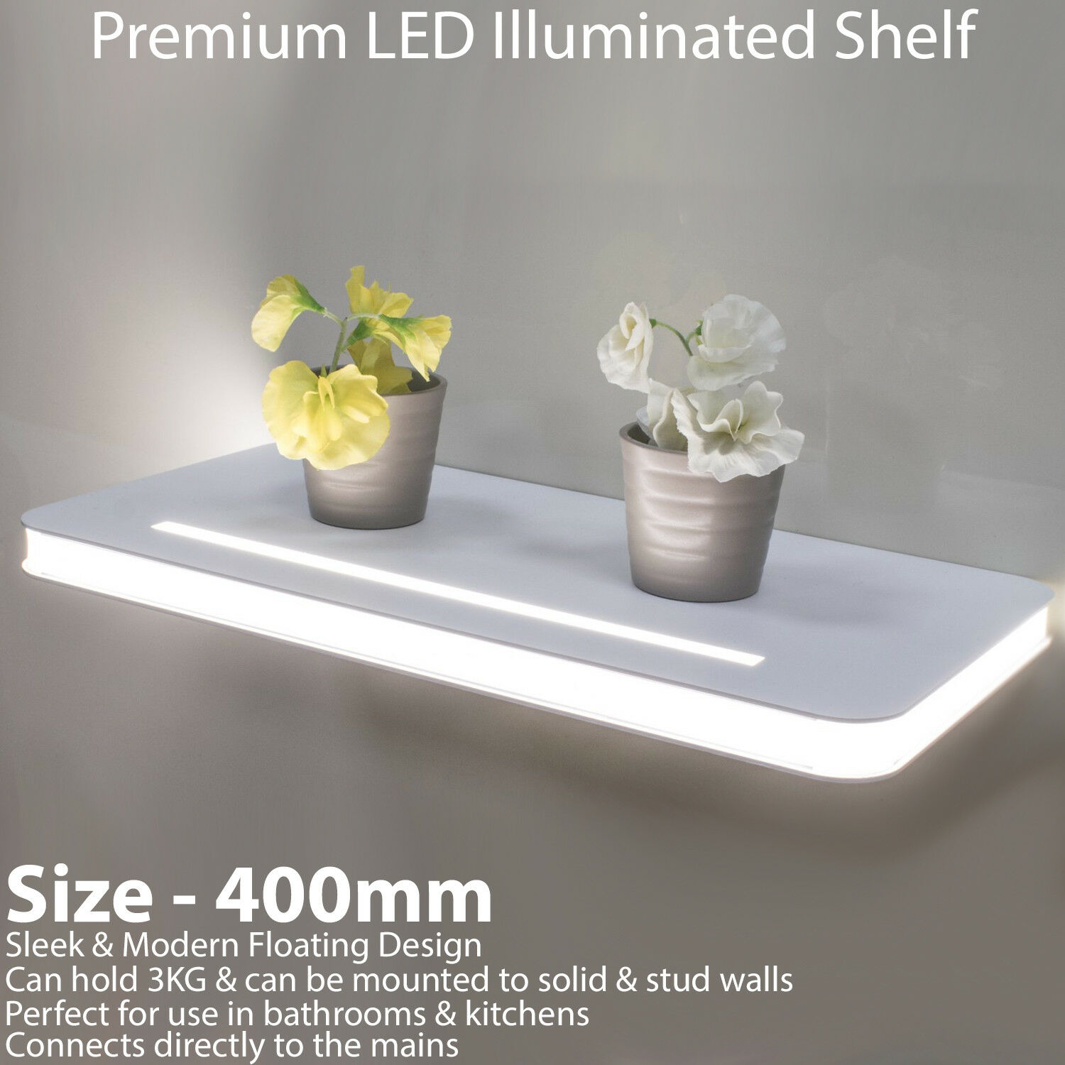 400 mm Illuminated DEL Floating Floating Floating Shelf – Bathroom Kitchen Modern Wall Lighting Unit | Outlet Store