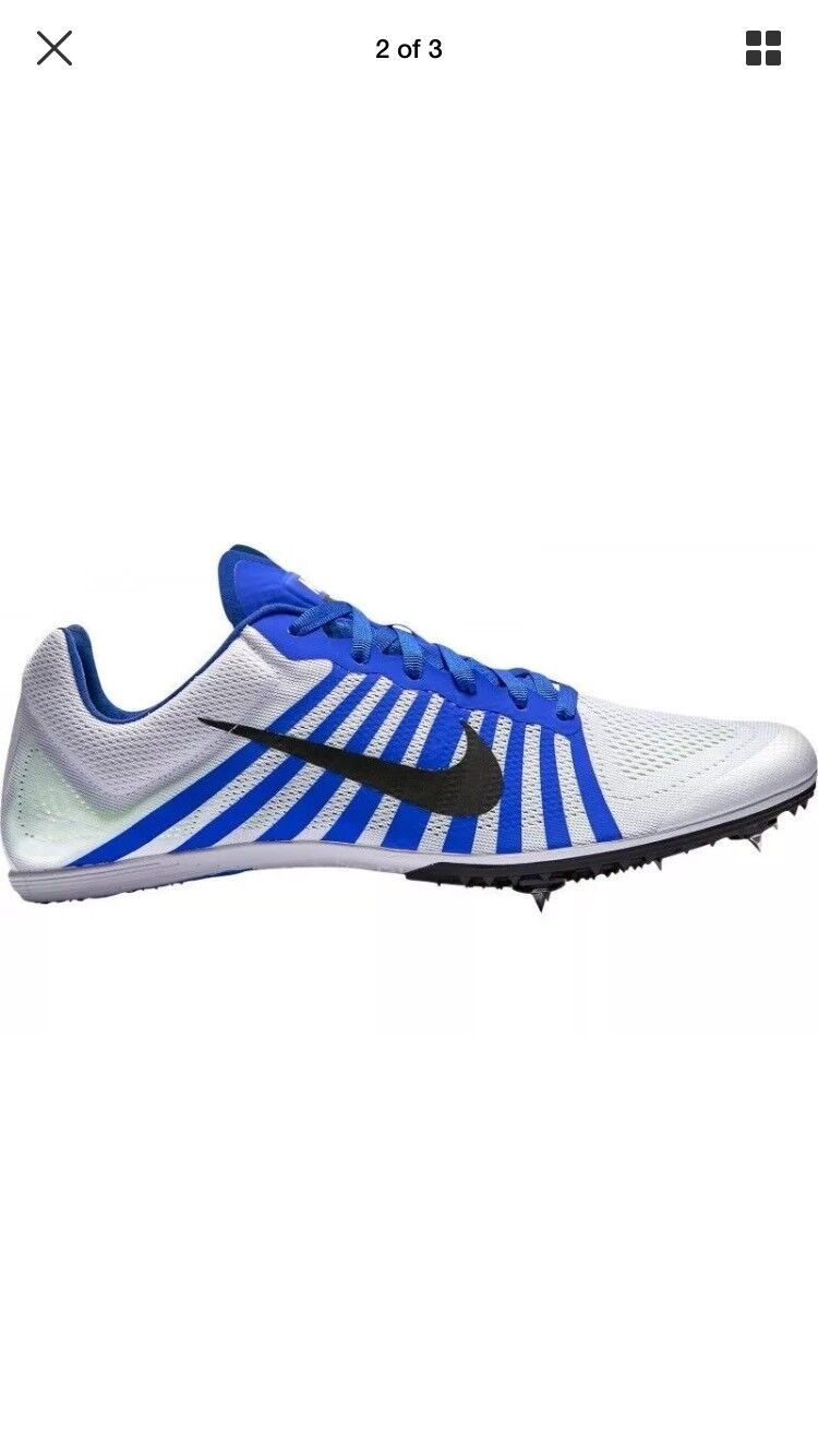 NIKE Zoom D Distance Track Shoes Spikes White Black Blue 819164 100 Men's Price reduction