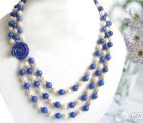 Wonderful!7-8MM White Akoya Pearl Lapis lazuli Necklace