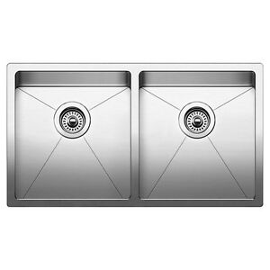 BLANCO-519549-NEW-QUATRUS-R15-Undermount-stainless-kichen-Equal-Double-Bowl-sink