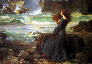Oil-painting-Waterhouse-Miranda-The-Tempest-Young-girl-by-beach-amp-Shipwreck