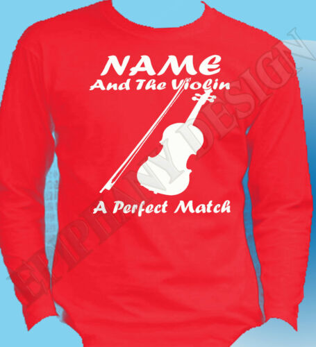 Violin Player Personalised Long Sleeve T-Shirt Customised Add Name Violinist
