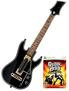RARE XBox 360 Guitar Hero World Tour corded WIRED GUITAR ...  Guitar Hero Guitar Wireless Xbox 360