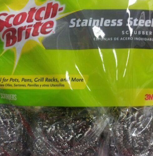 5 PER PACK SCOTCH-BRITE STAINLESS STEEL HEAVY DUTY SCRUBBING//SCOURING PADS 5