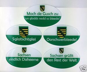 Sticker-Saxony-with-Saying-Saxon-Ossi-Car-3D-12x-7cm-Ostprodukte
