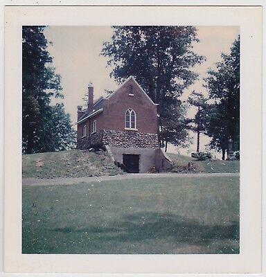 Square Vintage 70s Polaroid PHOTO Riverside Cemetery Chapel Back Lindsay Canada