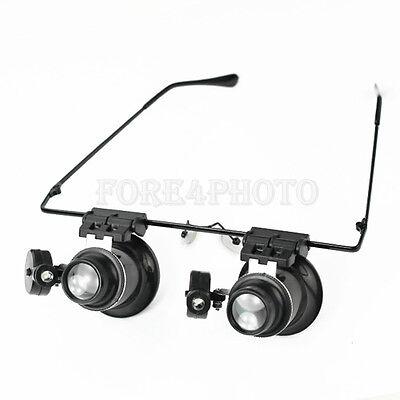 20 Fach Juwelier Vergrößerungsglas Brillenlupe Lupenbrille Kopflupe +LED Lampe