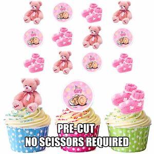 Details Zu Vorgeschnitten Rosa Baby Mädchen Essbare Cupcake Topper Taufe Packung Von 12