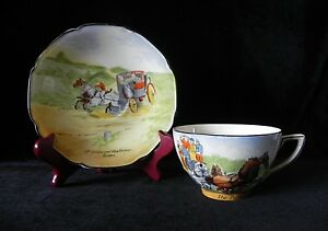 Crown-Ducal-THE-PICKWICKIANS-CUP-amp-MR-JINGLE-MISS-RACHAEL-ELOPE-SAUCER-England