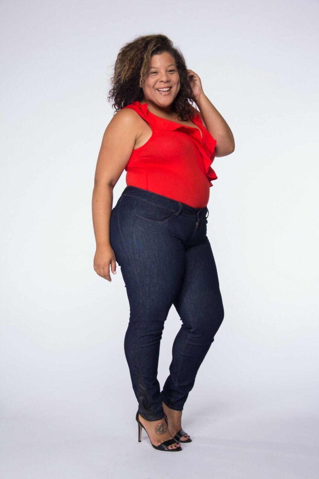 B U Denim Jeans Plus Size Ex-long Mid Rise Leg Enhancements Classic 2 Jegging US