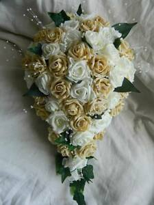 Image Is Loading Stunning Wedding Flowers Brides Shower Teardrop Bouquet Champagne