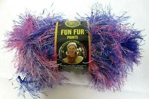 Lion Brand Yarn Fun Fur Flamingo 3 Skein Lot Hot Pink Eyelash Bulky Polyester