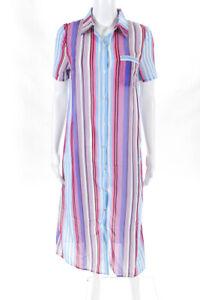 Les-Canebiers-Womens-Short-Sleeve-Striped-Button-Dress-Blue-Size-38