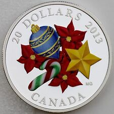Canada 2013 $20 Venetian Murano Glass Candy Cane, 1 oz. Pure Silver Proof Coin