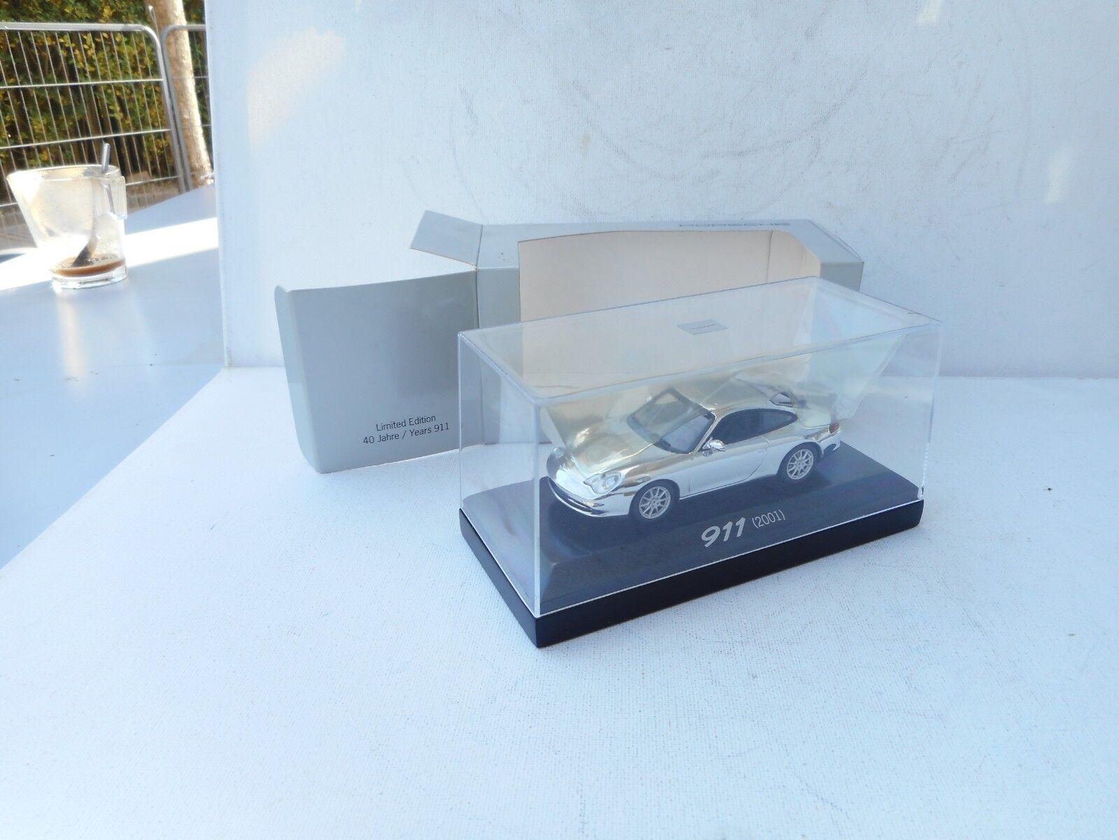 Rare Porsche Dealer 911 Coupe from 2001 in Chrome. Minichamps 1 43 Diecast NEW