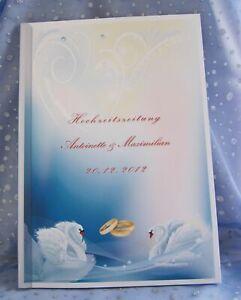 Hochzeitszeitung-Festzeitung-Hochzeit-Geschenk-Ehe-Trauung-Ringe-Schwaene-blau