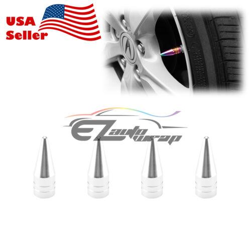 4PCs Silver Long Spike Valve Stem Caps Metal Thread Set For Wheel Tires TVC29