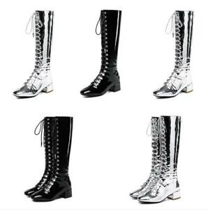 a91d6c21746 Women Patent Leather Lace Up Chunky Heel Knee High Riding Punk Boots ...