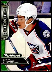2016-17-Parkhurst-ROOKIE-Card-Sonny-Milano-Blue-Jackets-Hockey-360-RC-NM-M