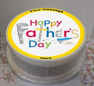 """Nouveauté Personnalisé À faire soi-même Happy Father/'s Day 7.5/"""" Comestible Glaçage Cake Topper Papa"""