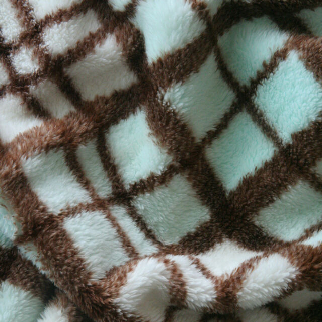 """SOFT DOUBLE SIDED MINKY CHENILLE BLANKET FABRIC LAMBIE BROWN BLUE CHECK 62""""W BTY"""