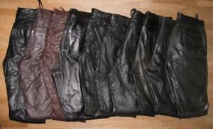 10-LEDERJEANS-Lederhose-n-aus-GLATTLEDER-schwarz-bzw-braun-versch-Groessen