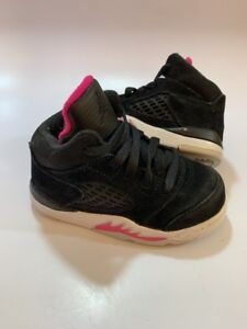 sale retailer f59a8 68b5f Details about JORDAN Retro 5 Black Pink Athletic Sneaker Shoes Infant  Toddler Girl's Size 6c
