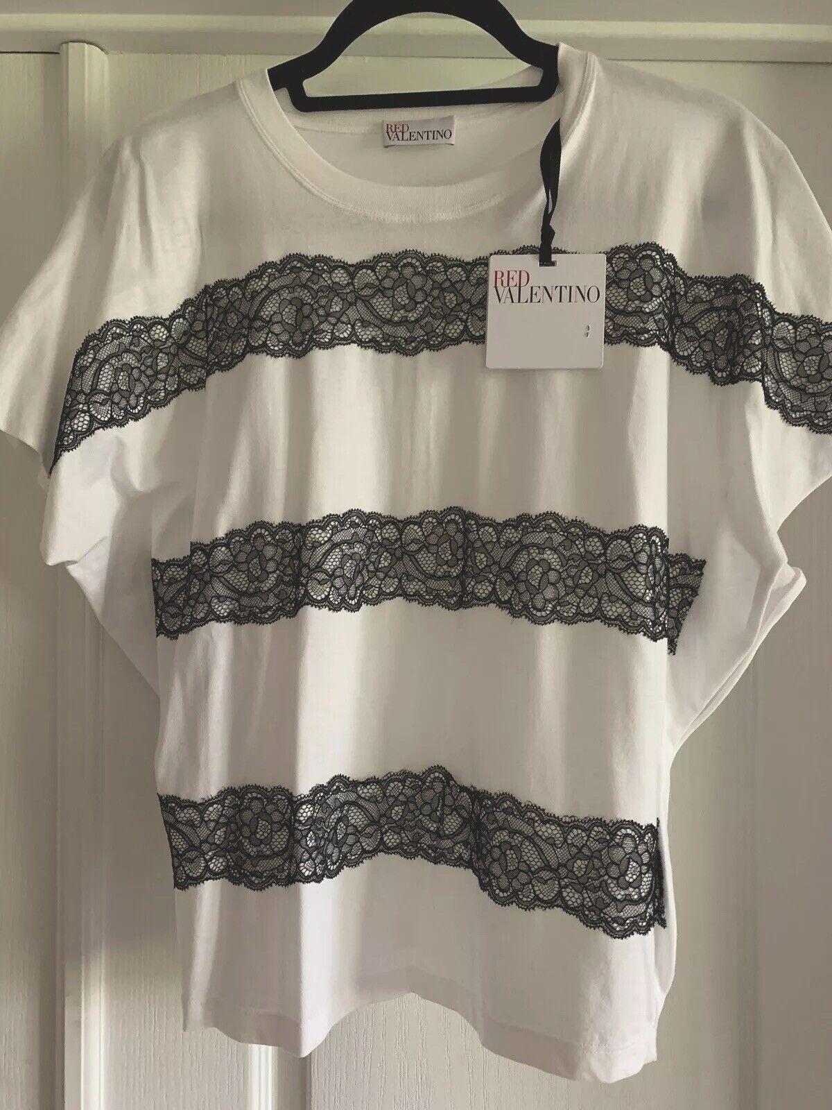 rot Valentino T-shirt Weiß Cotton schwarz  Laces MRSP  Größe S NWT