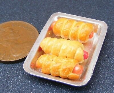 1:12 Scale Loose Savouries On Metal Trays Tumdee Dolls House Wooden Counter A